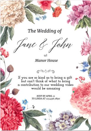Wedding video contribution invite